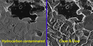 SEM sample before and after plasma cleaning