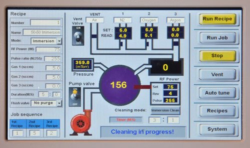 User interface for plasma cleaning equipment